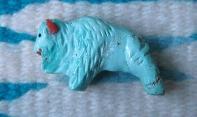Hand Carved ZUNI Pueblo NM Turquoise Buffalo FETISH by Andres Quandelacy