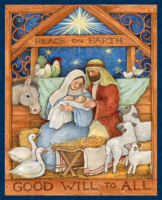 "Away in the Manger Peace Christmas Fabric Panel  V Large 36""x44"""
