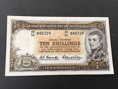 10 shillings  Coombs/Wilson 1960 beautiful aUNC banknote!!!