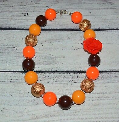 Thanksgiving Harvest Fall Chunky Necklace,Bubblegum Necklace