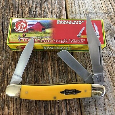 "Vintage Re-Issue CROWING ROOSTER 4 1/2"" STOCKMAN Pocket Knife Yellow CR-066Y-S"