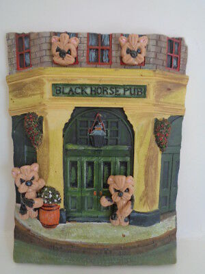 "Ooak**4 Yorkie Yorkshire Terriers Pups Dogs ""welcome To The Pub"" Wall Art Plaque"