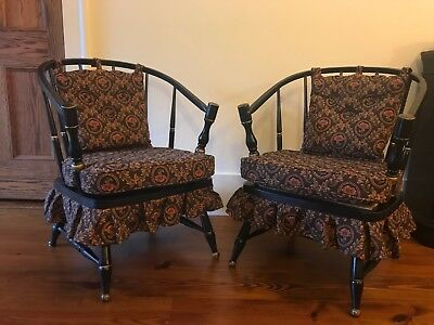 Pair Vintage Antique Country Dutch Side Chairs Black Flower Victorian Upholstery