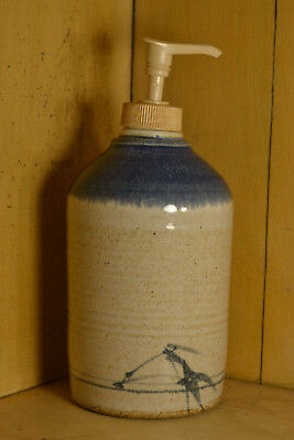 "Beautiful Pottery Soap Dispenser Stoneware Country Home Pump 7""&1/2 Container"