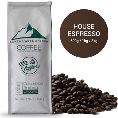Mr Coffee's Organic Espresso Coffee Beans - House, Light, Medium (500g,1kg,3kg)