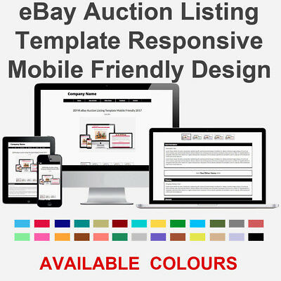 Black eBay Auction Listing Template HTML Responsive Mobile Friendly Design 2018