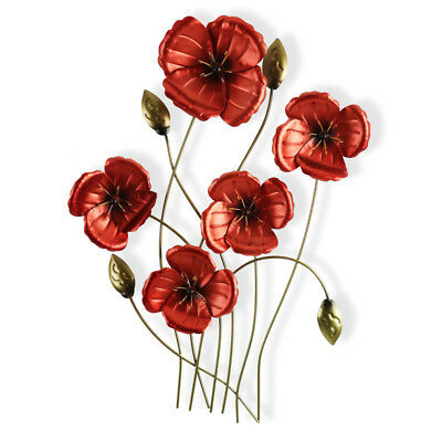 5 Poppies Metal Wall Art 60cm | Red Flowers Hanging Ornament Sculpture
