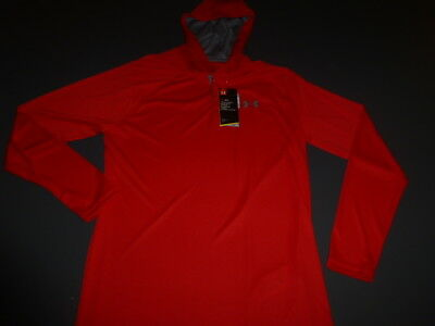 UNDER ARMOUR MEN'S HEAT GEAR LARGE L/S LOOSE FIT HOODED RED SHIRT NEW w/TAGS