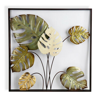 Double Frame Monstera Metal Wall Decor 80cm Tropical Metal Hanging Sculpture