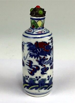 Signed Antique Chinese Porcelain Snuff Bottle w/ Jeweled Cap, Red & Blue Dragon