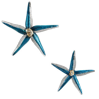 Set Of Two Starfish Metal Wall Art | Sea Life Creature Metal Hanging Sculpture