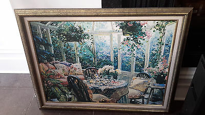 FRAMED painting AFTERNOON TEA IN THE SUNROOM 88 x 70cm home decor