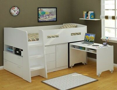 Jupiter King Single size White Loft Bed with Desk and Storage