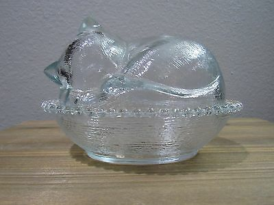 Sleeping Cat Kitten Nest Basket Covered Clear Glass Dish Indiana Glass Vintage