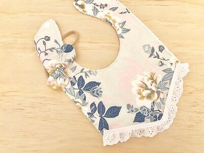 Baby Girl Gift Set Boho Lace Bib/Bow in Etheral Fusion Print