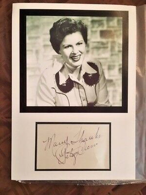 Patsy Cline Autographed Photo Display - In-Person, Hand Signed!  RARE!!