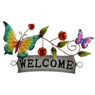 Butterfly Welcome Metal Wall Sign 54cm | Hanging Sculpture Welcome Plaque