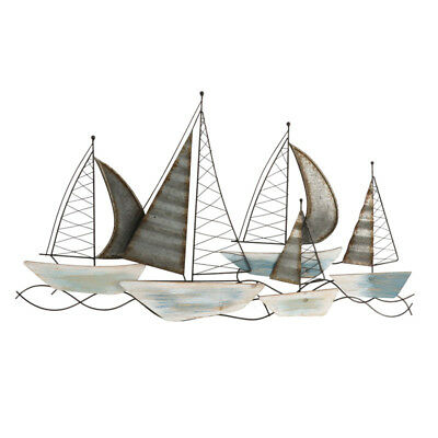 Sailing Boat Wood And Metal Wall Decor 100cm Hanging Ornament Sculpture