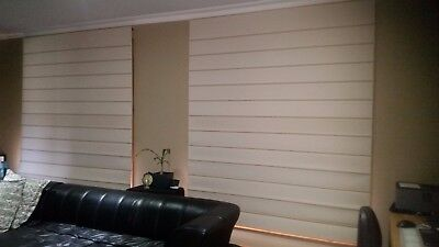 Pair Roman Oasis Block Out Blinds - Vanilla with painted timber front Battens