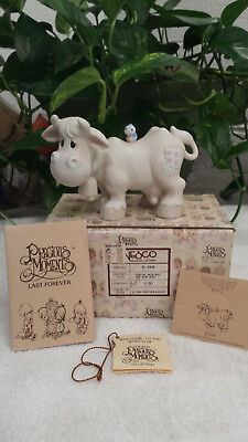 """Precious Moment """"cow With Bell"""" E-5638Unmarked Nativity Addition Cow W/bell/$65"""