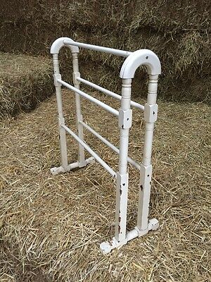 Vintage Cream Wooden Towel Rail Stand Guest Bath Bed Room Drying