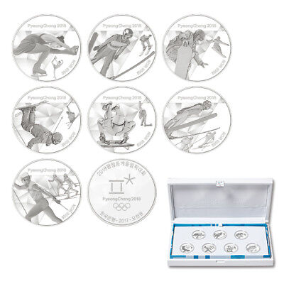 PyeongChang 2018 Winter Olympic Game Korea New Version 7 Coins Silver Proof Set!