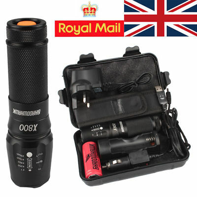 2 Pack 7000lm X800 ShadowHawk Tactical Flashlight LED Military Grade G700 Torch