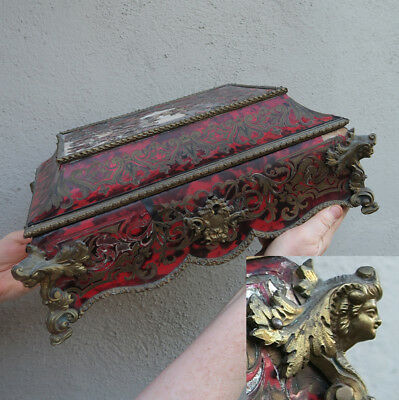 Antique French gilt Bronze Trinket Box casket BOULLE INLAID LADY Acanthus ASIS