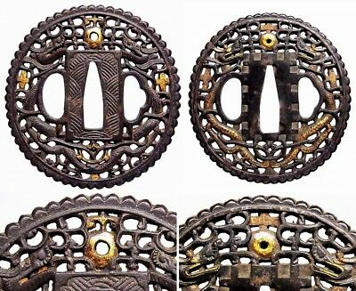 "DAISHO TSUBA 18-19thC Japanese Edo Antique Koshirae fitting ""Cross Dragon"" E129"