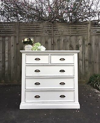 PROVINCIAL White Shabby Chic Dressing TABLE Chest Of Drawers tallboy