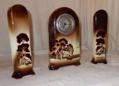 Vintage CERAMIC 3 PIECE Mantel CLOCK With PUTTEN VASES Brown GARNITURES