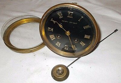 JAPY FRERES Clock Movement for RESTORATION W/ PENDULUM Bell CHIME & Back DOOR