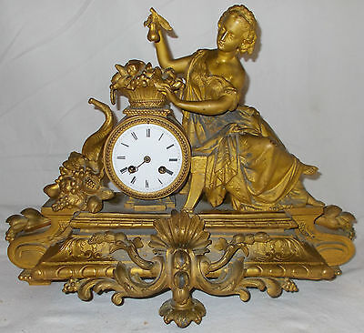 Antique GILT Figural MANTEL CLOCK Lady & FLOWERS With CHIME Japy Fils LARGE