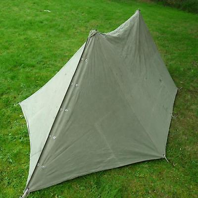 Dutch Army Pup Tent Two Shelter Halves Complete With Poles and Pegs