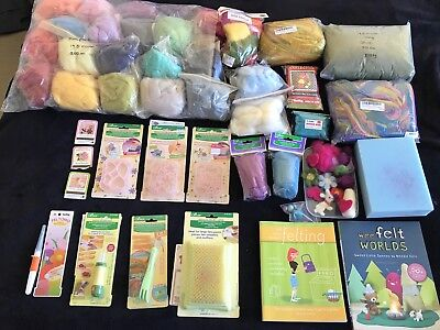 Wool Needle Felting Huge Kit As New Nundle Wool Top, Clover Tools, Moulds, Books