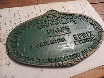 Quirky Vtg. French Agricultural Award Plaque ~ Reproducteurs *charolais* Males