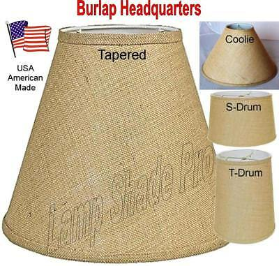 """Rustic Burlap Lamp Shades Drum, Coolie, Empire, All Shapes Sizes USA Made 8-24""""W"""