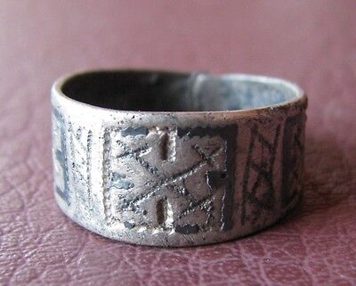 Ancient Artifact > Viking Silver Laguz Rune Ring with Niello Sz: 9 US 19mm VK 28