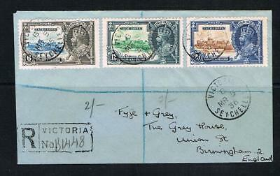 seychelles 1935 silver jubilee 6/12/20cents on a cover to england