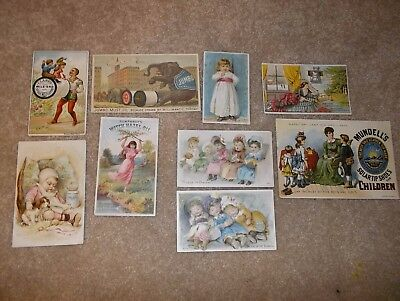 lot of 9 victorian trade cards - thread, food, sewing machines, etc.