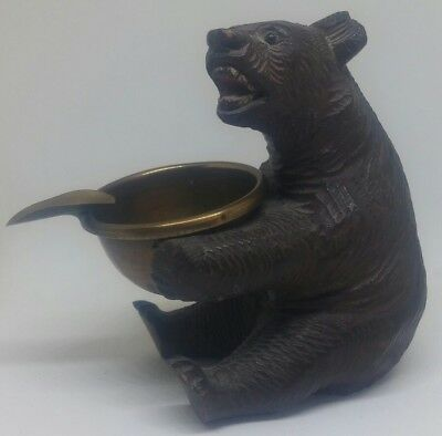 Antique Swiss Champery Black Forest Bear Ashtray
