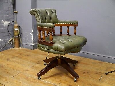 Green Leather & Mahogany Captains Desk Chair