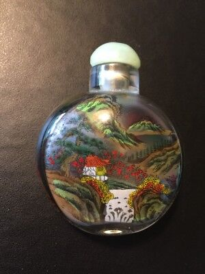 Chinese Asian Reverse Painted Glass Landscape Snuff Bottle