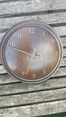 Large Oak And Brass Electric Wall Clock 15 Inches Round
