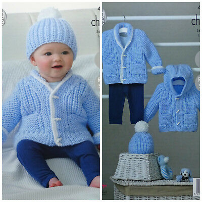 Baby KNITTING PATTERN Easy Knit Hoodie Hat Jacket Chunky King Cole 4843