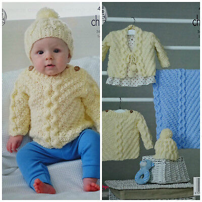 Baby Knitting Pattern Cable Jumper Cardigan Hat Blanket Chunky