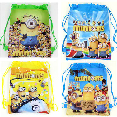 Despicable Me Minion Drawstring Backpack Shoulder Carton Kids PE Bag Party Gift