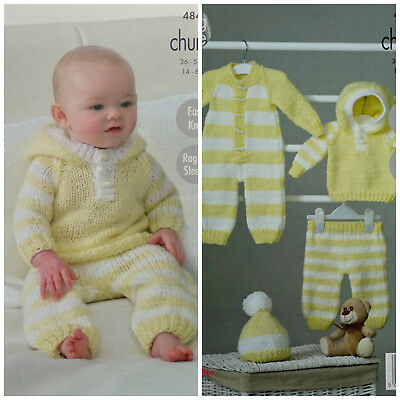 Baby KNITTING PATTERN Easy Knit Hoodie AllInOne Pants Hat Chunky King Cole 4846
