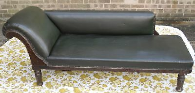 VERY GOOD CONDITION: EDWARDIAN CHAISE LONGUE - LEATHER & WOOD - 1901 - 1910s