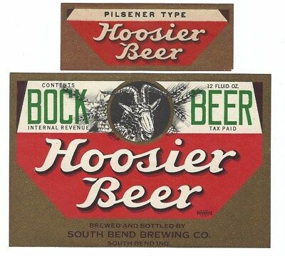 South Bend Brewing Hoosier Bock Beer label with neck IRTP Indiana IN